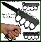 Spring Assisted Opening Trench Knife & Brass Knuckles - Black
