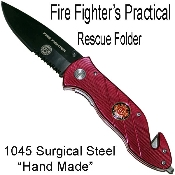 Spring Assisted Rescue Pocket Knife - Red Fire Fighter