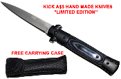 """Kick A$$"" Spring Assisted Opening Italian Stiletto Knife - Black"