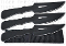 3 Pc Throwing Knife Set w/ Sheath Black Knives