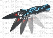 Dragon Pocket Knife Spring Assisted Opening Blue