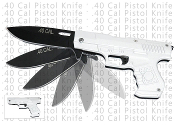 .40 Cal Pistol Assisted Opening Pocket Knife - Silver