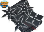 Steel Chinese Ninja Black Throwing Stars with Pouch - Set of 4 Metal