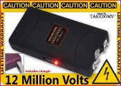 12,000,000 Volt Black Stungun Built-In Charger Light & Case
