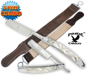 Pearl Handle Folding Shaving Straight Razor & Leather Strop