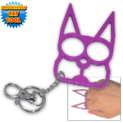 Black Cat Self Defense Steel Keychain - Purple