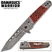 Bone Handle Damascus Warrior Tanto Pocket Knife Assisted Opening