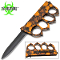 Orange Skulls Zombie Slayer Spiked Knuckles Trench Pocket Knife