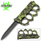 Green Skulls Zombie Slayer Spiked Knuckles Trench Pocket Knife