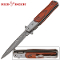 Steel Damascus Blade Pocket Knife Wood Handle Assisted Opening