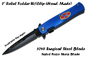 Spring Assisted Confederate Rebel Flag Pocket Knife - Blue