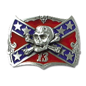 Confederate Flag Skull & Crossbones Belt Buckle