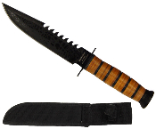 USMC Military Combat Survival Knife & Sheath with Rope Cutter