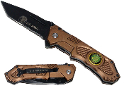 Spring Assisted Rescue Pocket Knife - United States Army Brown