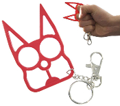 Black Cat Self Defense Steel Keychain - Red