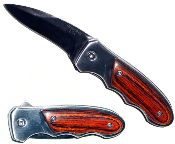 Mini Spring Assisted Opening Pocket Knife - Wood Handle