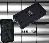 Black Stun Gun - 3.5 Million Volt Rechargeable w/ Flashlight & Holster