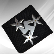 "Chinese Throwing Star & Case - 3 Blade ""Spinners"" Silver"