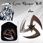 "Chinese Throwing Star & Case - Silver Grim Reaper ""KILL"""