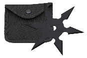 "Chinese Throwing Star with Case - Black ""Sunray"""