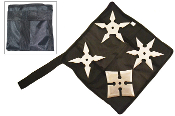 Throwing Stars with Carrying Pouch - Set of 4 Silver