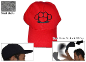 Red Steel Shot Baseball Sap Cap w/ Brass Knuckles Emblem