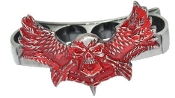 """Winged Phantom"" Brass Knuckles - Silver & Red"