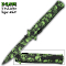 Green Zombie Skulls Stiletto Pocket Knife Assisted Opening