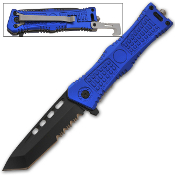 Blue Handle Tanto Blade Rescue Pocket Knife Spring Assisted Open