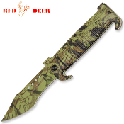 Double Horn Forest Camo Hunting Pocket Knife Assisted Opening