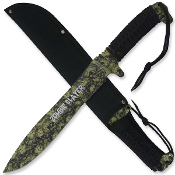 Full Tang Zombie Slayer Machete w/ Green Skulls