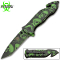 Assisted Opening Rescue Pocket Knife w/ Green Skulls Handle