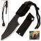 Black Fire Starter Survival Knife w/ Belt Sheath