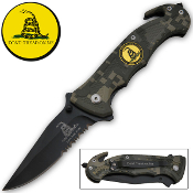 """Don't Tread on Me"" Rescue Pocket Knife - Forest Camo"