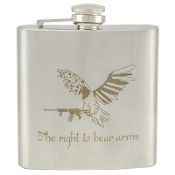 """The Right to Bear Arms"" 6 oz Stainless Steel Whiskey Hip Flask"