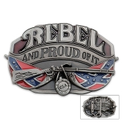 Rebel and Proud Confederate CSA Belt Buckle